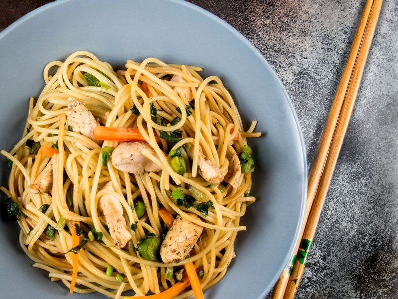Chicken Vegetable Stir Fry with Spaghetti