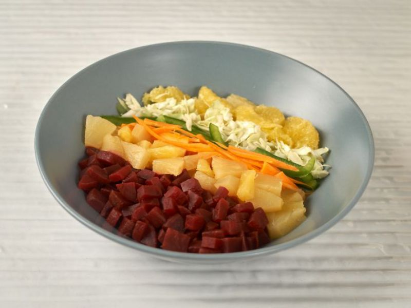 Arranged Fruit and Vegetable Salad