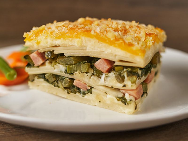 Callaloo and Ham Lasagna