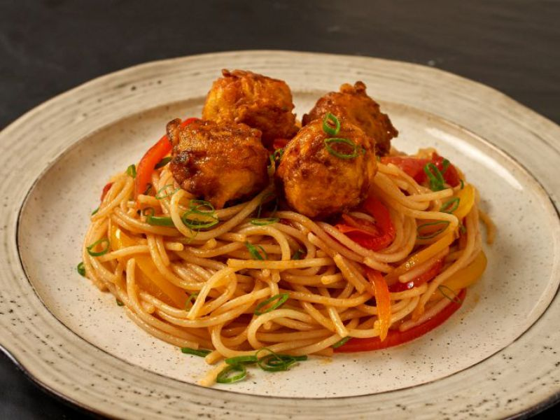 Carrot Balls with Spaghetti & Vegetables