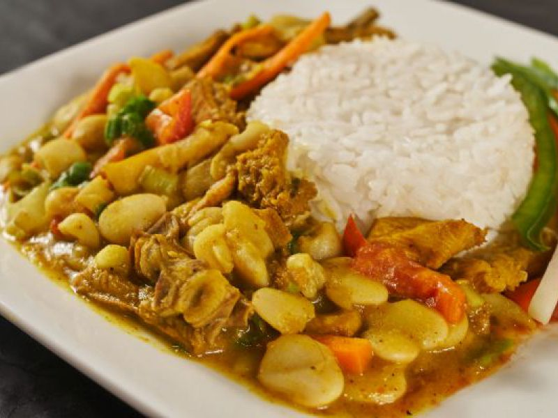 Curried Tripe & Beans